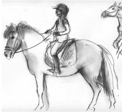 Akvarelskitser af hestehoveder, malet i det fri af birgit bennedbæk